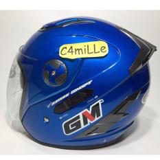 Jual Helm Gm Interceptor Solid Blue Metalic Double Visor Half Face