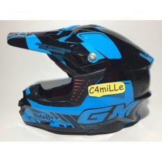 Helm GM Super Cross Se Moto 1 Blue Fluorecent Black Trail    .