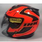 Jual Helm Ink Centro Jet Super Fluo 01 Red Fluo Black Half Face Lengkap
