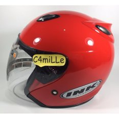 HELM INK CENTRO SOLID FIRE RED ORIGINAL 100% HALF FACE