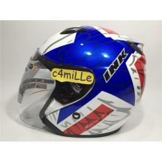 Helm INK Centro White Red Fluo Half Face Original