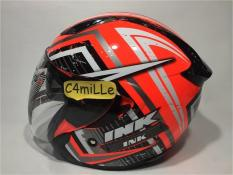HELM INK METRO 2 #2 RED FLUO SILVER WHITE DOUBLE VISOR HALF FACE