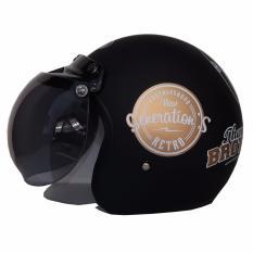 Helm JPN Retro Klasik kaca bogo original motif Brothershood Generations Jap Style Scooteris Jadul Black Doff Gold - Hitam