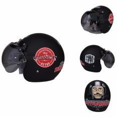 Helm JPN Retro Klasik kaca bogo original motif Brothershood Generations Jap Style Scooteris Jadul Black Doff Red - Hitam