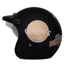Helm JPN Retro Klasik Motif Brothershood Generations Jap Style Scooteris Jadul Black Doff Gold Plus Pet - Hitam