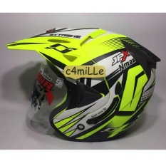 HELM JPX SUPERMOTO NMAX YELLOW FLUO DOFF DOUBLE VISOR HALF FACE
