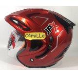 Jual Helm Jpx Supreme Red Scarlet Merah Maroon Double Visor Half Face