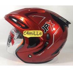 Jual Helm Jpx Supreme Red Scarlet Merah Maroon Double Visor Half Face Jpx Original