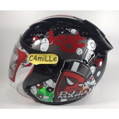 HELM KYT DJ MARU MOTIF #5 BLACK RED HALF FACE