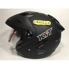 Helm Kyt Forever Solid Black Dof Double Visor Half Face Kyt Diskon 30