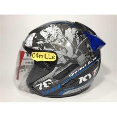 Jual Helm Kyt Galaxy Black Blue Double Visor Half Face Branded Original