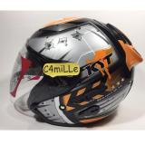 Helm Kyt Galaxy Black Orange 1 Double Visor Half Face Original