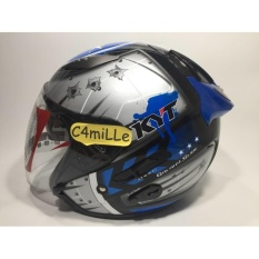 Helm Kyt Galaxy Slide Black Blue Double Visor Half Face Murah