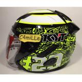 Review Helm Kyt Galaxy Special Edition Iannone 29 White Yellow Double Visor Half Face Di Indonesia