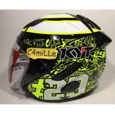 4271f712 Jual Helm Kyt Galaxy Special Edition Iannone 29 White Yellow Double Visor  Half Face Online
