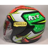 Beli Helm Kyt Kyoto 2 Black Green Fluo Red Half Face Kyt