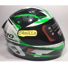 HELM KYT R10 #2 WHITE BLACK GREEN FULL FACE