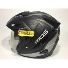 Review Helm Mds Projet Black Matt Silver Double Visor Half Face Terbaru