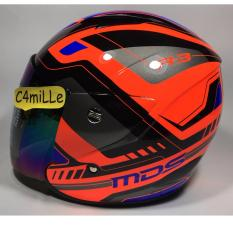 HELM MDS R3 RACE FLUO EDITION RED FLUO BLUE HALF FACE