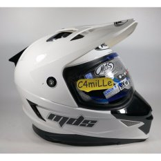 HELM MDS SUPER PRO SOLID WHITE DOUBLE VISOR TRAIL CROSS FULL FACE