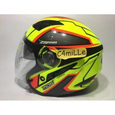 Helm MDS Zarra Yellow Fluo Red Double Visor Half Face