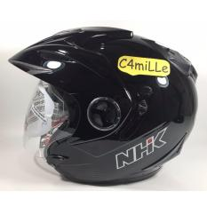HELM NHK AVIATOR SOLID BLACK DOUBLE VISOR HALF FACE