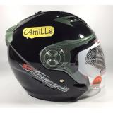 Beli Helm Nhk Gladiator Solid Black Hitam Double Visor Half Face Kredit Indonesia