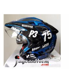 Helm NHK Predator CRYPTON 75 Blue Black Half Face Dual Visor