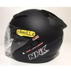 HELM NHK R1 SOLID BLACK DOP DOUBLE VISOR HALF FACE