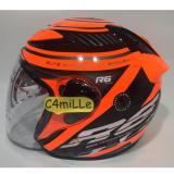 Helm Nhk R6 Racer X Orange Fluo Silver Half Face Di Indonesia