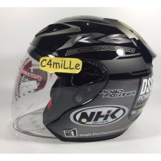 Review Pada Helm Nhk R6 Rally Black Silver Half Face