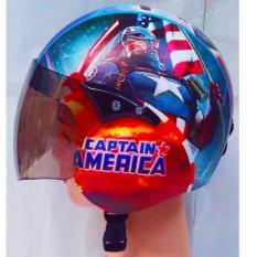Helm Retro Anak Motif Captain Superhero Umur 4-10 Tahun