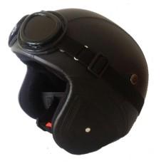 Helm Retro Bogo Kulit Classic + Kacamata - Hitam