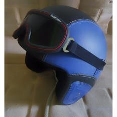 Spesifikasi Helm Retro Full Synthetic Leather Dewasa Remaja Kaca Mata Biru Putih Beserta Harganya