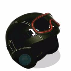 Helm Retro Full Synthetic Leather Dewasa Remaja Kaca Mata Hitam Polos Handmade Diskon 30