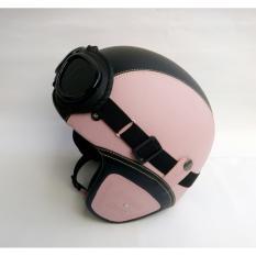 Spesifikasi Helm Retro Kacamata Dewasa Pink Hitam Murah