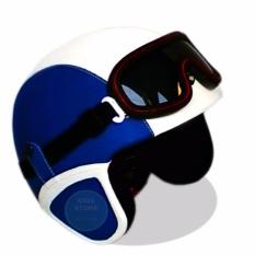 Helm Retro Kacamata Klasik Full Synthetic Leather Biru Dongker Putih Jbx Helmets Diskon 30