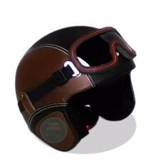 Helm Retro Kacamata Klasik Full Synthetic Leather - Coklat Hitam