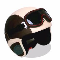 Helm Retro Kacamata Klasik Full Synthetic Leather - Coklat Krem