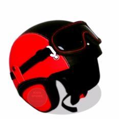 Promo Helm Retro Kacamata Klasik Full Synthetic Leather Merah Hitam Jawa Timur