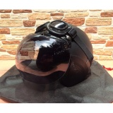 Jual Helm Retro Klasik Full Synthetic Leather Dewasa Kaca Bogo Kacamata Google Hitam Polos Helm Retro Original