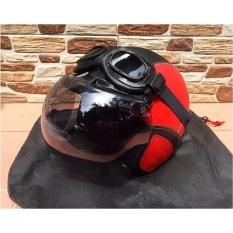 Beli Helm Retro Klasik Full Synthetic Leather Dewasa Kaca Bogo Kacamata Goggle Merah Hitam Online Murah