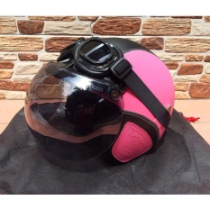 Helm Retro Klasik Full Synthetic Leather Dewasa Kaca Bogo + Kacamata Google - Pink/Hitam