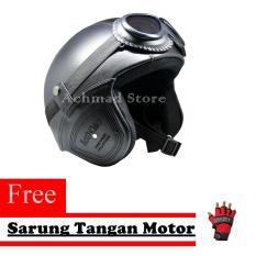 Helm Retro Kulit Unik Klasik Kaca Mata ( Helm, Retro, Kulit, Clasic, Vespa)  Free Sarung Tangan