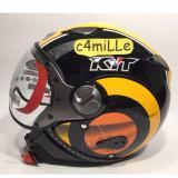 Jual Helm Retro Kyt Elsico 1 Black Orange Half Face Antik