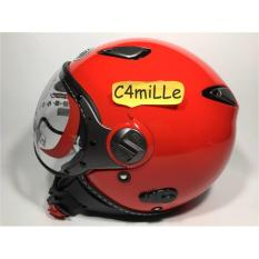 Helm Retro KYT Elsico Solid FIRE Red Half Face .