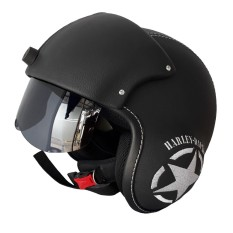 Helm Retro Pet Pilot Visor Motif Bordil - Hitam