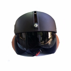 Helm Retro Pilot Visor Kombinasi - Coklat