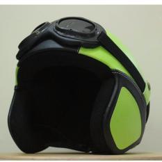 Helm Retro Pororo Kacamata Klasik Dewasa/Remaja Style Asiikk - Hijau/Hitam