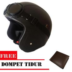Helm Retro Vespa Clasic Kulit Full synthetic - Clasic Kaca mata Remaja / Dewasa ( Helm Retro + Kaca mata - HITAM  - Free Dompet Tidur - coklat